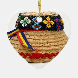 clop traditionellen Hut Keramik Herz-Ornament