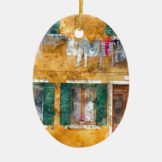 Clothesline auf einem Gebäude in Burano Italien Keramik Ornament