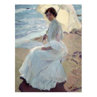 Clotilde auf dem Strand - Joaquín Sorolla Postkarte