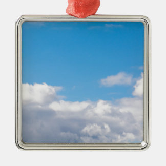 Cloudscape Quadratisches Silberfarbenes Ornament