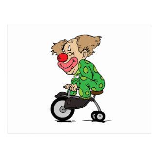 Clown auf Dreirad Postkarte