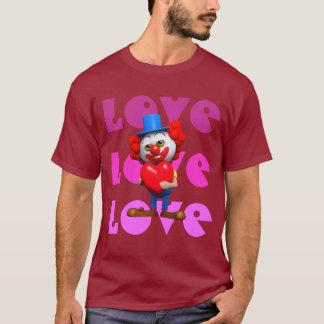Clown der Liebe-Liebe-Liebe 3d mit rotem Herzen T-Shirt