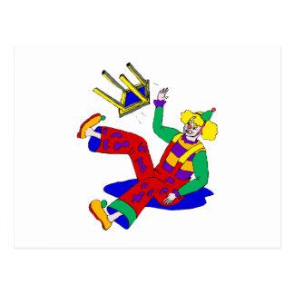 Clown fiel weg vom Schemel Postkarte