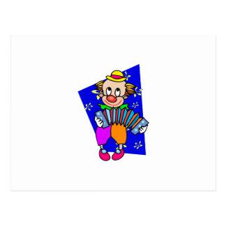 Clown mit acordian postkarte
