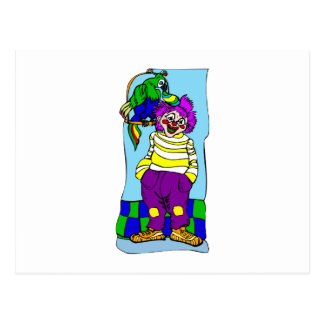 Clown mit Papageien Postkarte