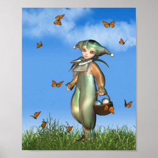 Clown-Puppe Ostern Pierrot mit Schmetterlingen Poster