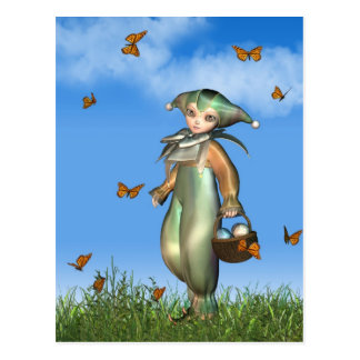 Clown-Puppe Ostern Pierrot mit Schmetterlingen Postkarten