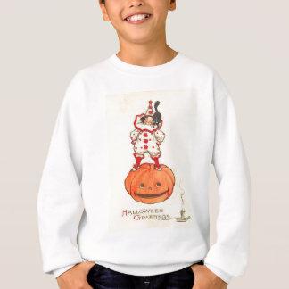Clown-schwarze Katzen-Kürbislaterne-Kürbis Sweatshirt