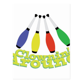 Clownin herum postkarte