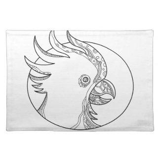 Cockatoo-Hauptkreis-Gekritzel-Kunst Tischset