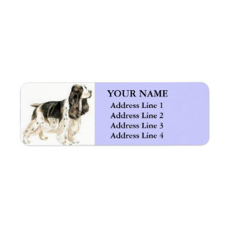 Cocker spaniel-Adressen-Etiketten (Flieder)