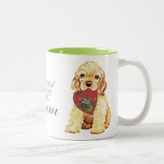 Cocker spaniel-Herz-Mamma Zweifarbige Tasse