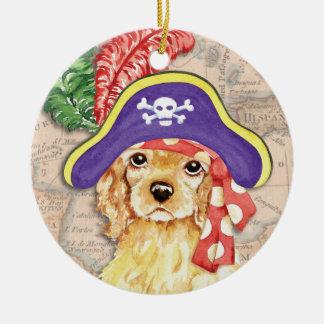 Cocker spaniel-Pirat Rundes Keramik Ornament