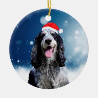 Cockerspaniel-Hund mit Rundes Keramik Ornament