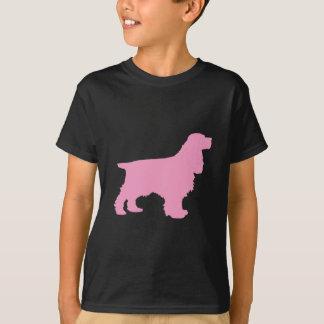 Cockerspaniel-Silhouette im Rosa T-Shirt