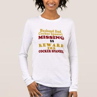 Cockerspaniel u. Ehemann-vermisste Belohnung für Langarm T-Shirt