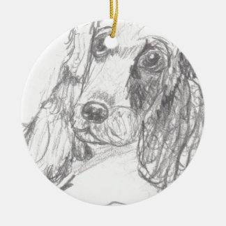 Cockerspanielhund, der Eliana zeichnet Rundes Keramik Ornament