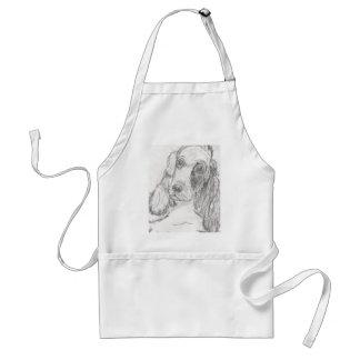 Cockerspanielhund, der Eliana zeichnet Schürze