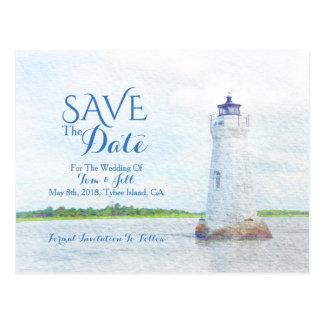 Cockspur-LeuchtturmWatercolor Save the Date Postkarte