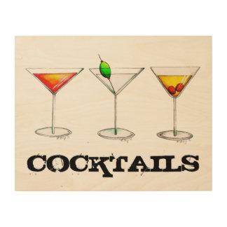Cocktail Cosmo Martini Manhattan Holzwanddeko