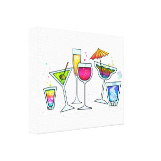 COCKTAIL-GLAS-ausgedehnte LEINWAND-DRUCKE Gespannter Galeriedruck