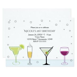 Cocktail-Mädchen-21. Geburtstags-Party Einladungen