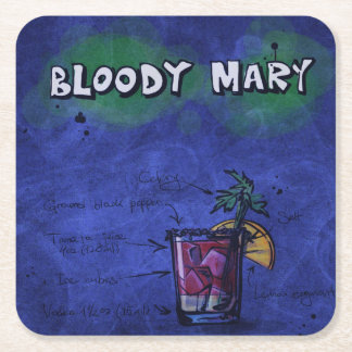 Cocktail-Party-Untersetzer-Sammlung - Bloody Mary Rechteckiger Pappuntersetzer