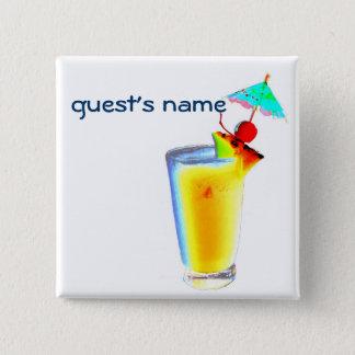 Cocktail-Regenschirm trinkt NamensAbzeichen Quadratischer Button 5,1 Cm