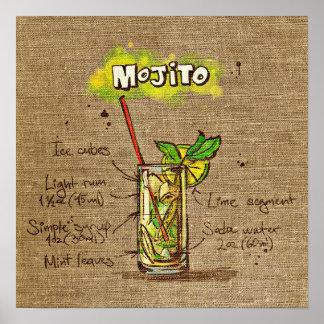 Cocktail-Rezept Mojito Plakat