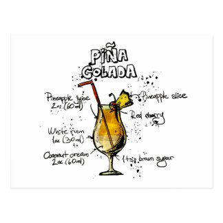 Cocktail-Rezept Pina Colada Postkarten