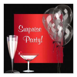 Cocktail steigt rotes quadratische 13,3 cm einladungskarte
