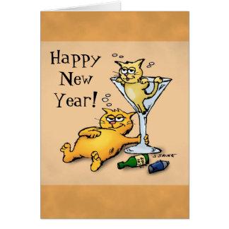 Cocktail-und Kätzchen-glückliches neues Karte