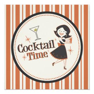 Cocktail-Zeit-Einladung - Streifen Quadratische 13,3 Cm Einladungskarte