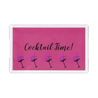 Cocktail-Zeit-heißes Rosa-Serviertablett Acryl Tablett