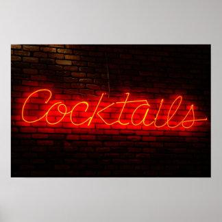 Cocktails auf Ziegelstein Poster