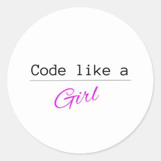 Code mögen ein MÄDCHEN Runder Aufkleber