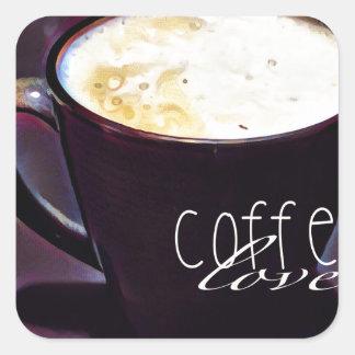 cofee Liebe Quadratischer Aufkleber