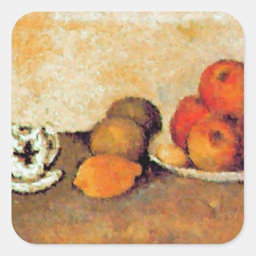 Coffe Schale und Äpfel Quadrataufkleber