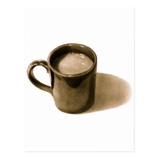 COFFE TASSE: BLEISTIFT-REALISMUS: SEPIA POSTKARTEN