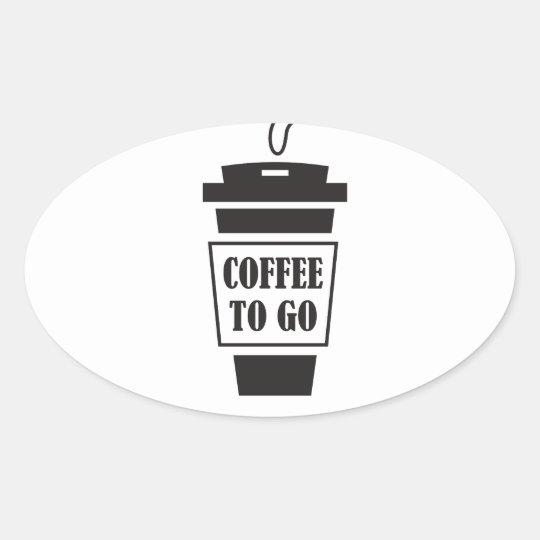 coffee to go ovaler aufkleber