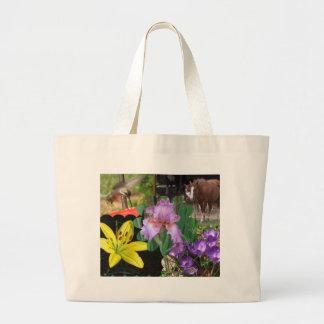 Collage der Blumen, der Pferde und des Kolibris Jumbo Stoffbeutel