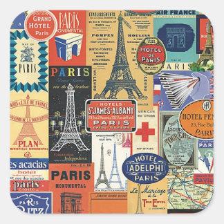 Collage Paris Quadratischer Aufkleber