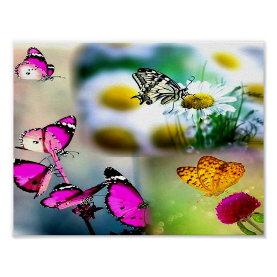 Collage Schmetterling_Pink Poster