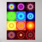 Collage von 12 Mandalas Poster