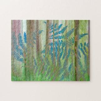 Collage von Adlerfarn-Farnen und von Wald | Puzzle