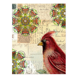 Collaged alte Buchstaben und Postkarten mit Vogel