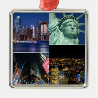 Collagen-Foto Cityscape New York City NYC Silbernes Ornament