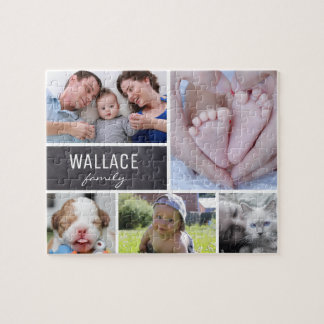 Collagen-Fotos mit Familiennamen, 5 Bilder Puzzle