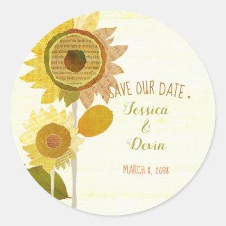 Collagen-Sonnenblume, die Save the Date Wedding Runder Aufkleber