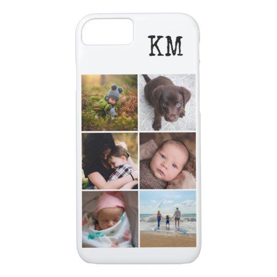 Collagenmonogramm-Foto-Telefonkasten mit 6 Fotos iPhone 8/7 Hülle